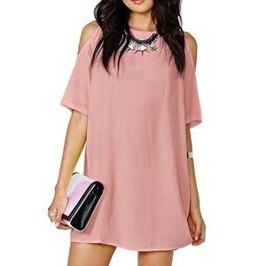 Women's Cold Shoulder Casual Loose Chiffon Dresses